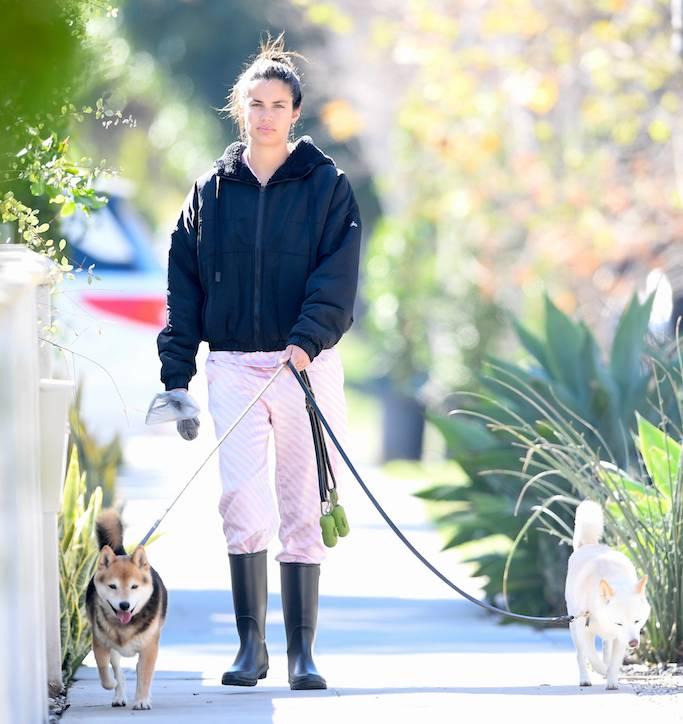 Sara Sampaio, dog walking, L.A., pink pajama, black rain boots
