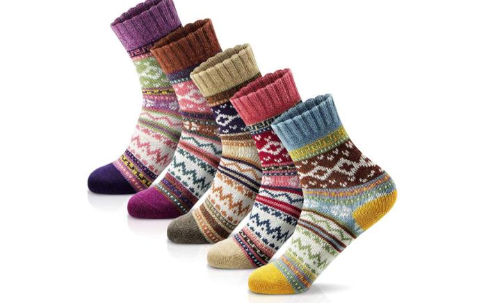 wool socks, patterned socks