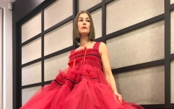 Rosamund Pike, red tulle dress, combat