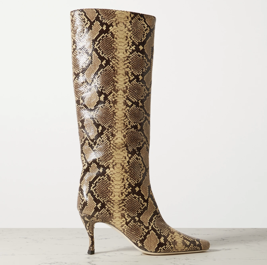 snakeskin boots, square toe, by far