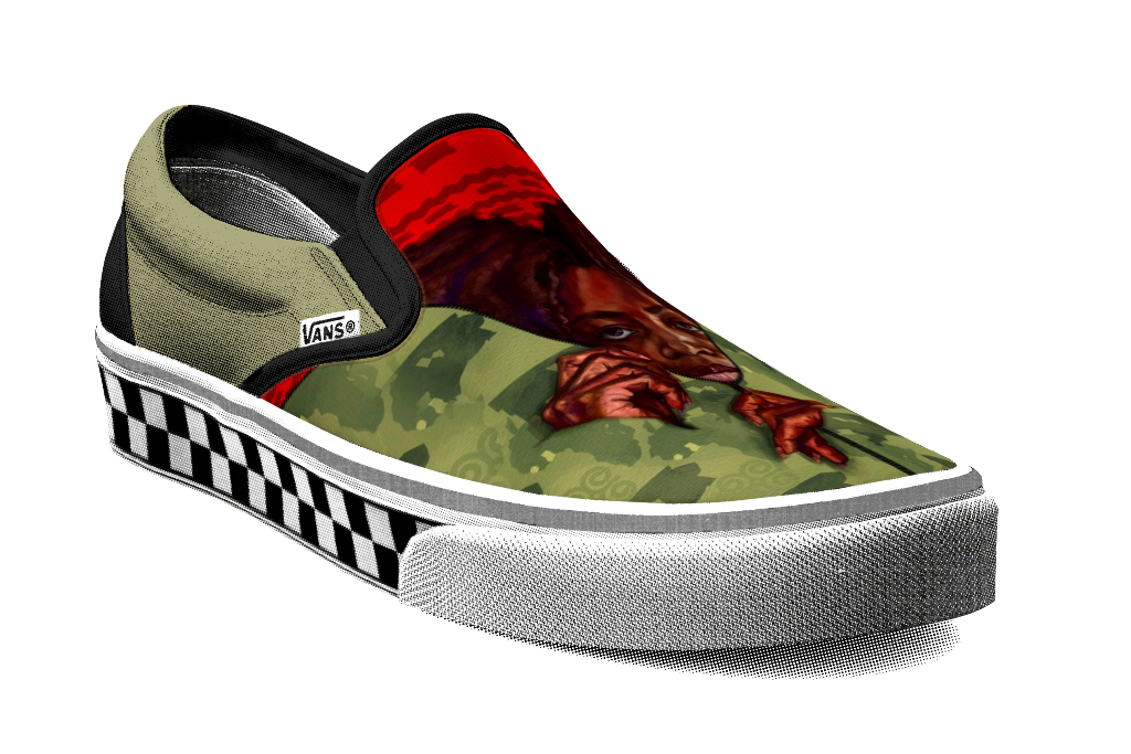 vans customs, sydney g. james slip-on, black history month collection