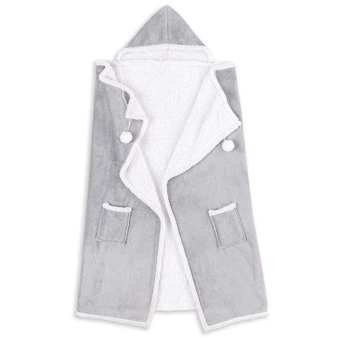Safdie & Co. Inc. Pom-Pom Hooded Throw, wearable blankets