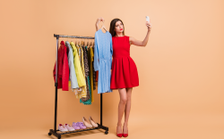 Woman modelling clothes from an assortment
