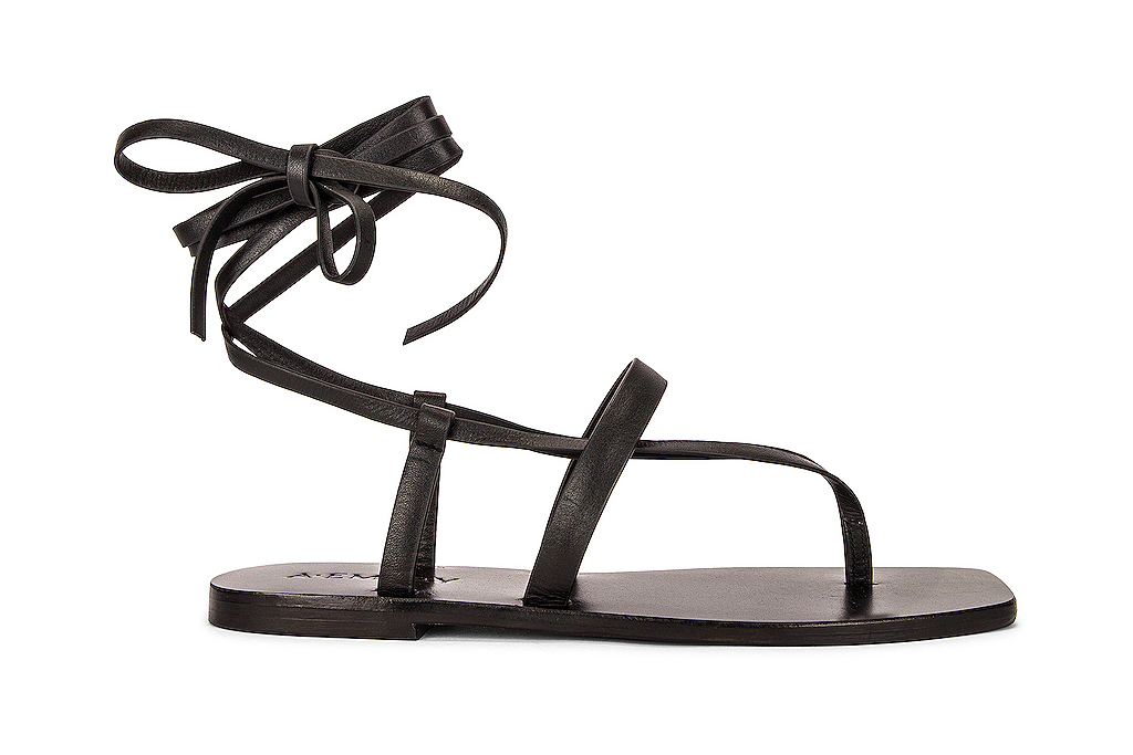 black sandals, flat, thin strap, a emery