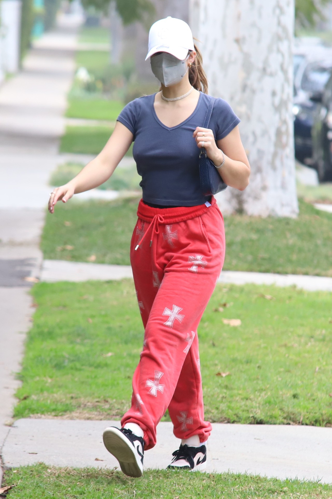 Addison Rae, red sweatpants, air jordan sneakers, los angeles