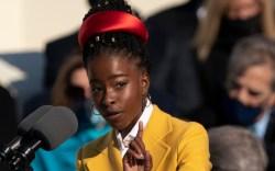 amanda gorman, yellow coat, red headband,