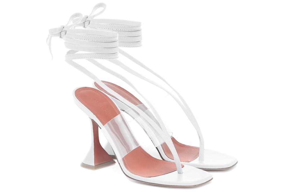 amina muaddi, white sandals, pvc, thong