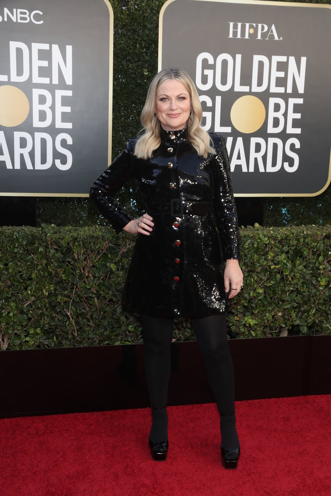 78th ANNUAL GOLDEN GLOBE AWARDS -- Pictured: Co-host Amy Poehler arrive to the 78th Annual Golden Globe Awards held at the Beverly Hilton Hotel on February 28, 2021. -- (Photo by: Todd Williamson/NBC)