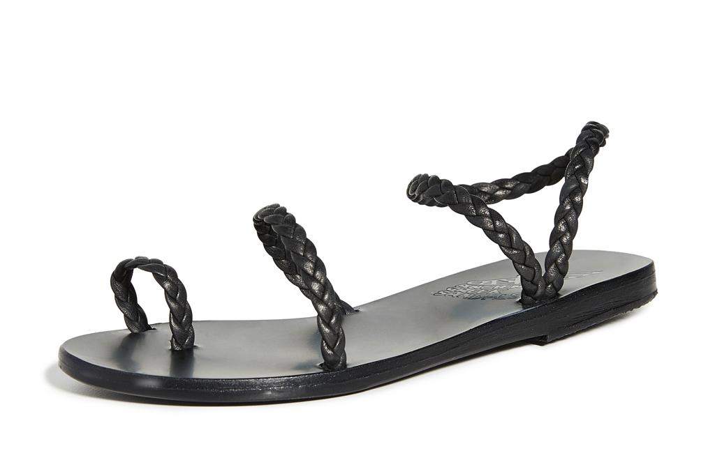 black sandals, flat, thin strap, ancient greek sandals