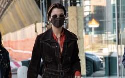 Bella Hadid, suede jacket, wide leg