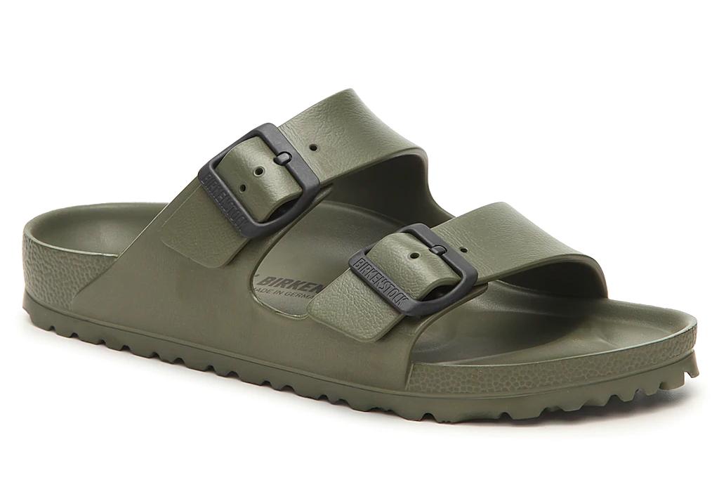 Birkenstock sandals Kim Kardashian s Green Bikini amp Sporty Ugly Sandals Bring the Monochrome Trend to the Beach 8211 Footwear News