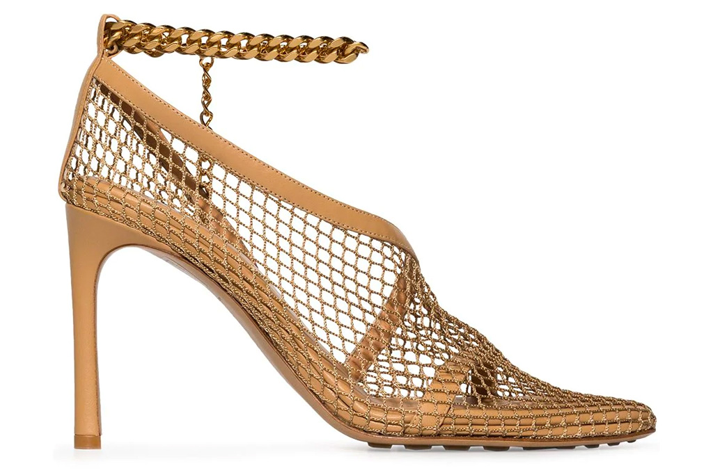 bottega veneta, mesh heels, chain