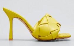 bottega veneta, yellow sandals, heels
