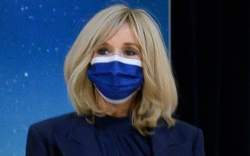 brigitte macron, france, paris, dress, blue
