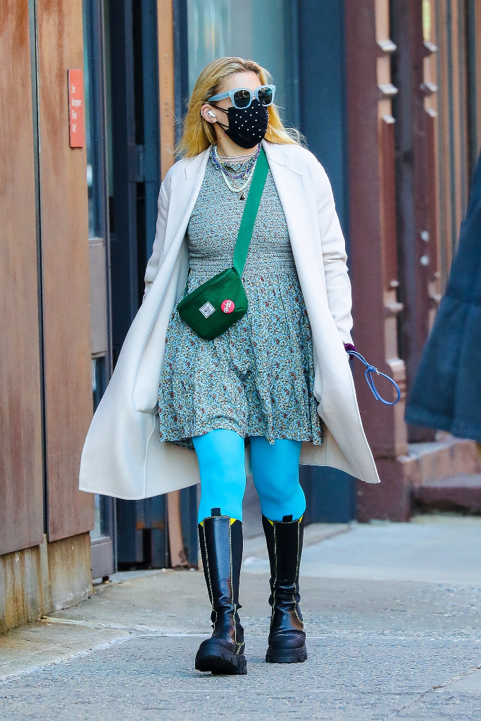 Busy Philipps, paisley dress, off-white coat, blue tights, chelsea boots