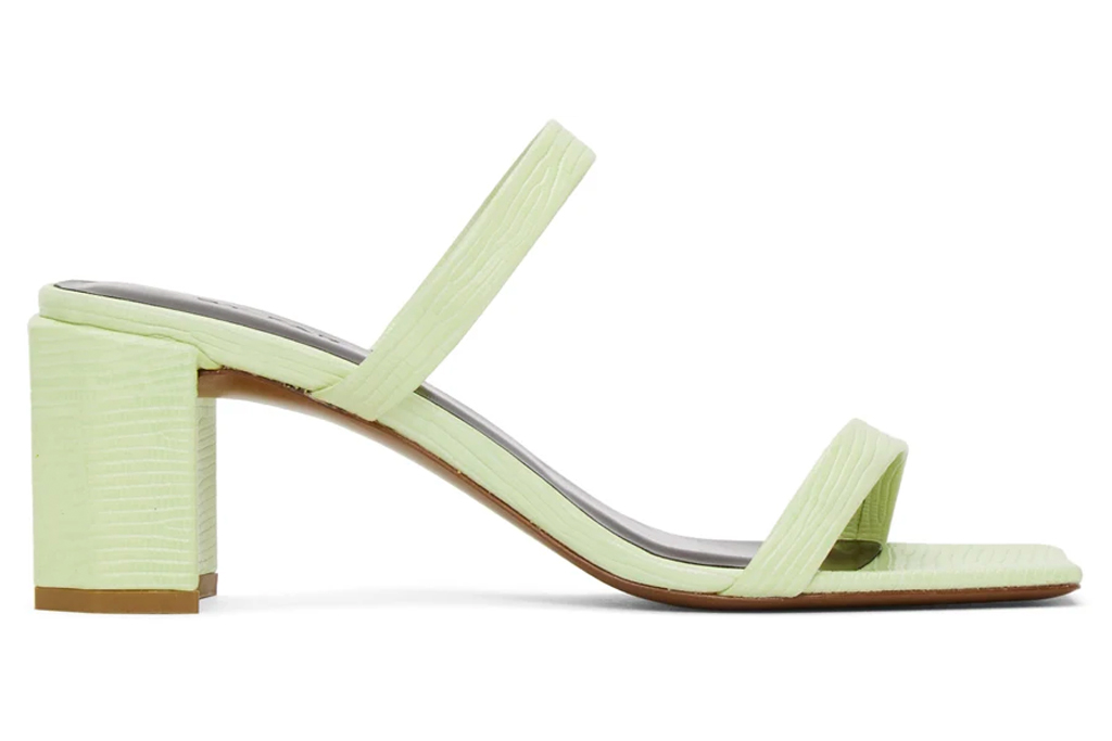 green sandals, block heel, by far