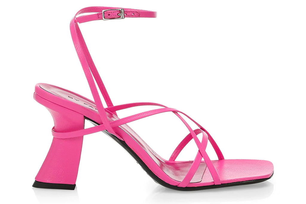 pink sandals, square-toe, by far