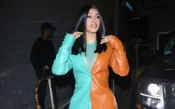 cardi b, color block suit, leather