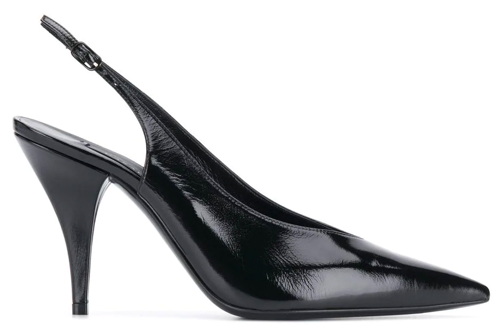 slingbacks, heels, black, casadei