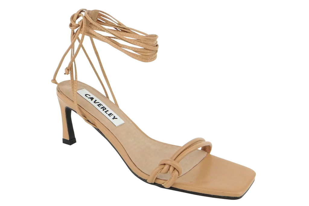 tan sandals, ankle wrap, caverly