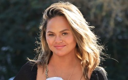 chrissy teigen, dress, blazer, fishnet, heels