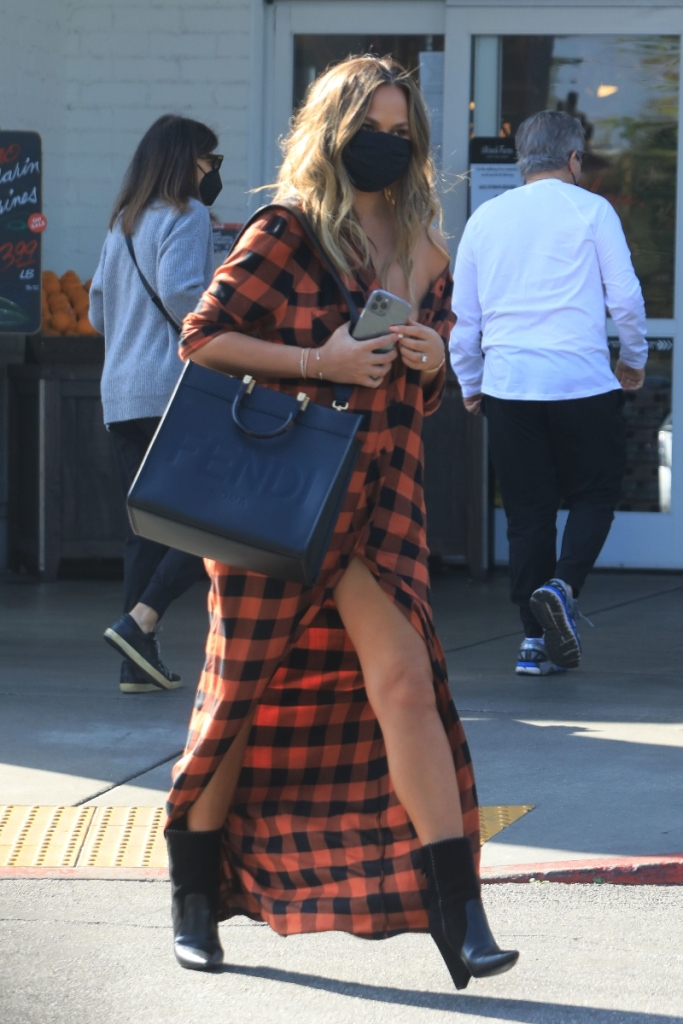chrissy teigen, dress, flannel, boots, saint laurent, shopping, store, purse, fendi