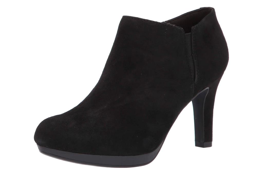 black boots, booties, clarks