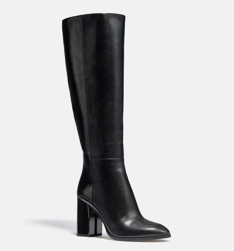 boots, black, knee high, coach