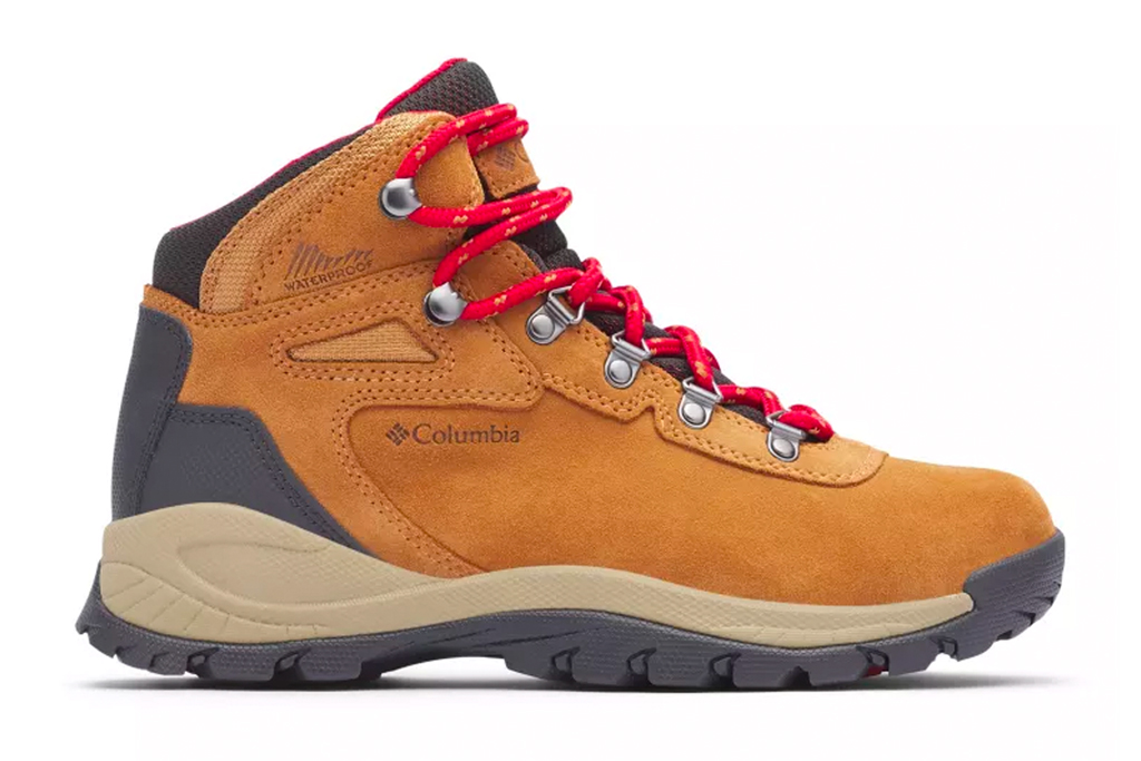 hiking boots, tan, leather, red laces, columbia