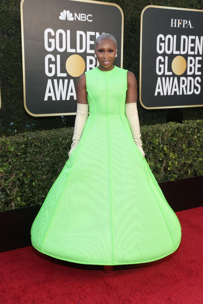 Cynthia Erivo, neon umbrella dress, golden globes 2021
