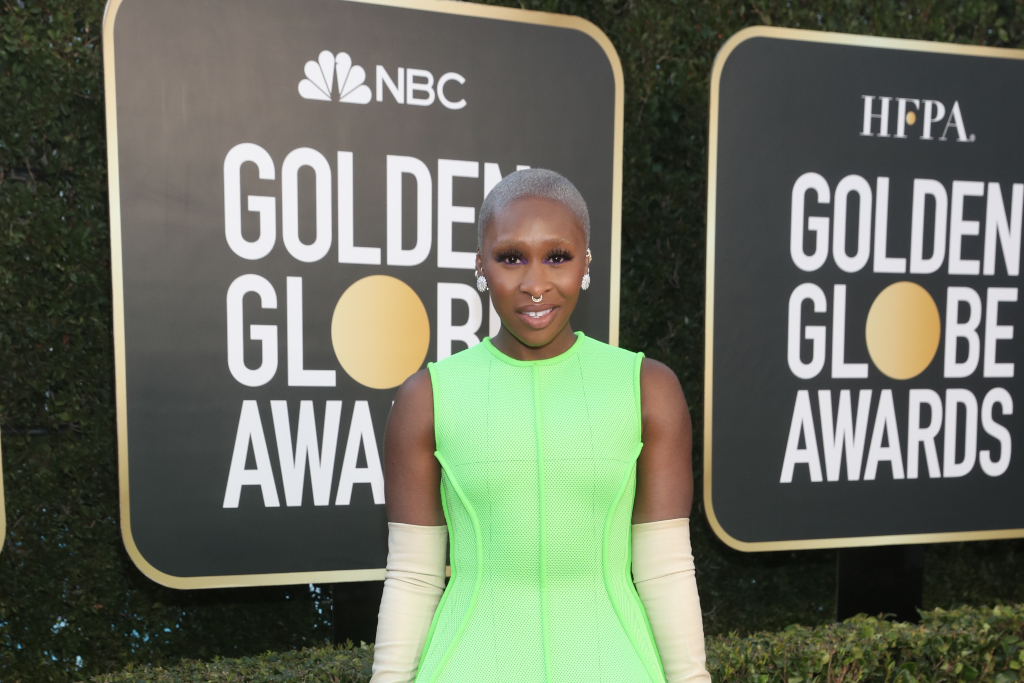 Cynthia Erivo Electrifies in Extreme Metallic Platform Heels & Neon Umbrella Dress at Golden Globes