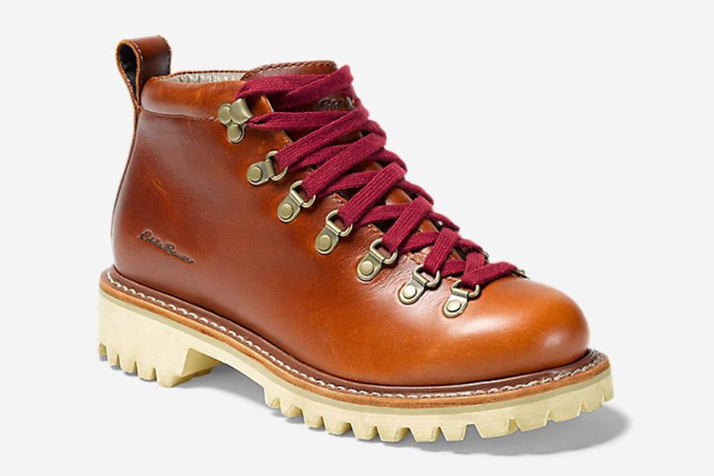 hiking boots, tan, leather, red laces, eddie bauer