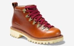 hiking boots, tan, leather, red laces,