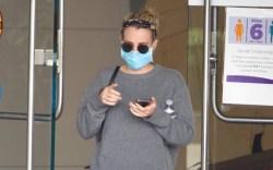 Emma Roberts, gray sweater set, loungewear,