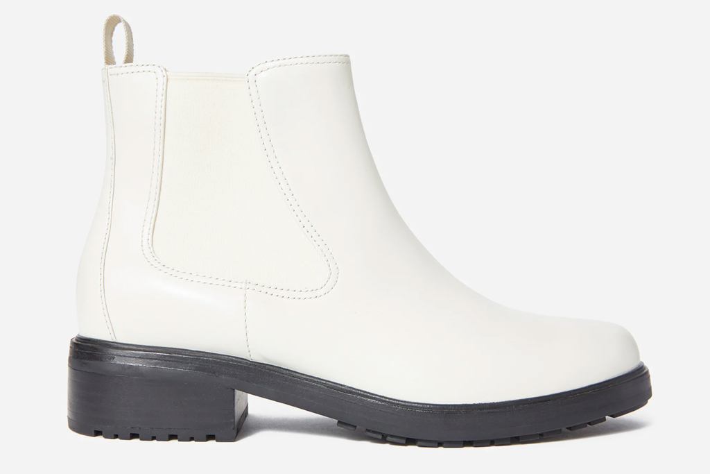 white boots, black outsole, everlane