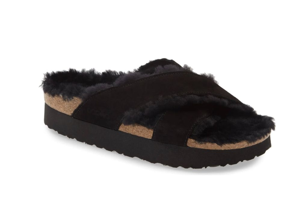 birkenstock, fuzzy sandal, shearling lined, ugly sandal