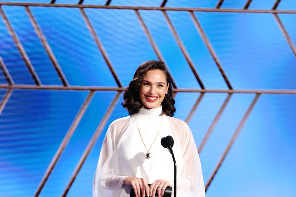 Gal Gadot Teams Old Hollywood Glam With Sparkly Sandals & Sheer Tunic Dress at the 2021 Golden Globes