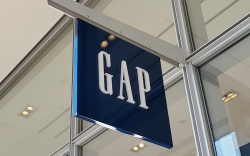 Low-angle shot of a Gap sign