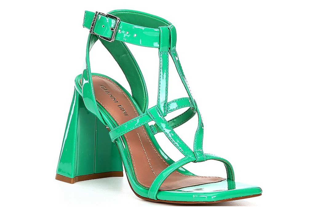green sandals, block heel, gianni bini