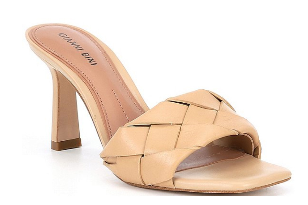 nude sandals, tan, square toe, gianni bini