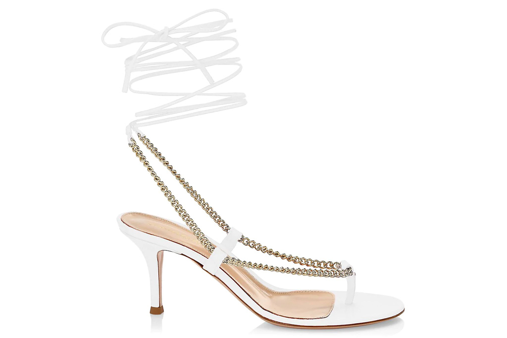 white sandals, thong, ankle wrap, gianvito rossi