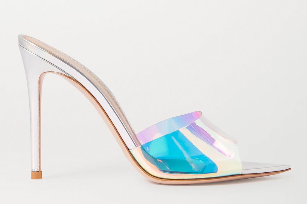 iridescent heels, mules, gianvito rossi