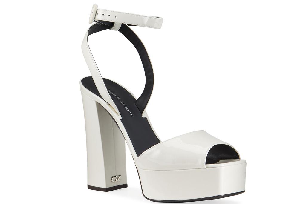 giuseppe zanotti, sandals, platform, white