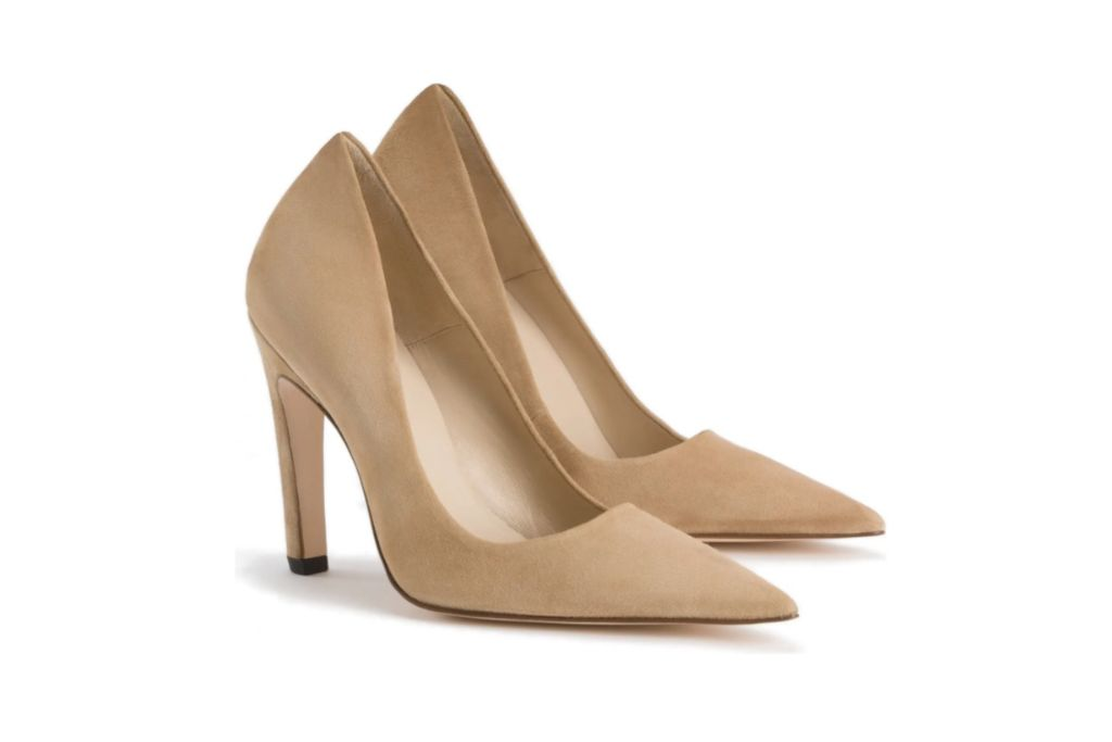 good american, icon pump, nude suede
