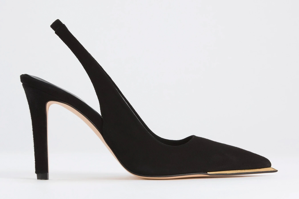 slingbacks, heels, black, good american