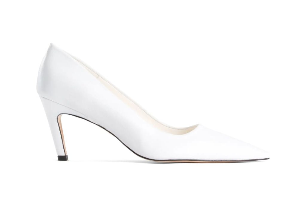good american, the icon pointed toe pump, white heels