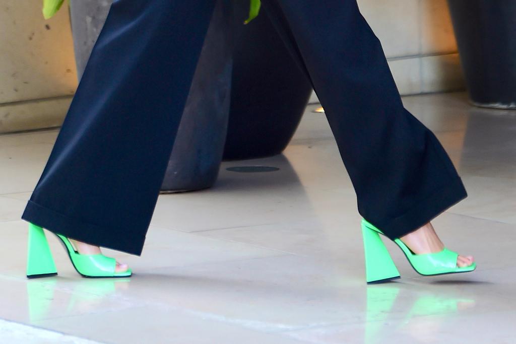 hailey baldwin, suit, blazer, pants, sandals, green heels, los angeles, meeting, the attico