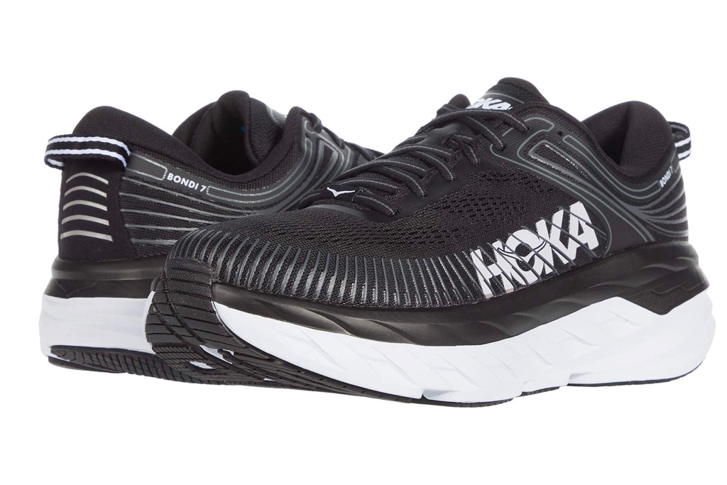 hoka one one, black, white, sneakers, running