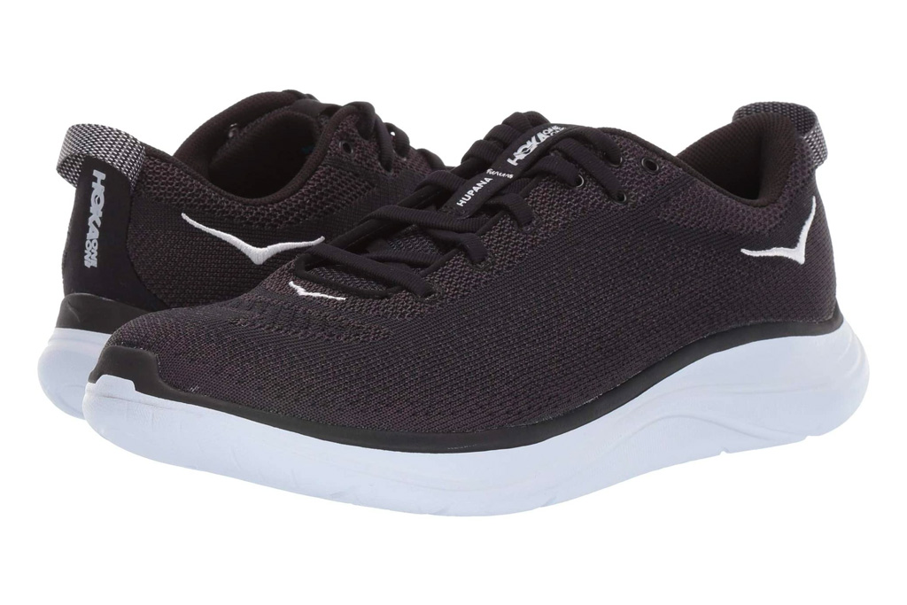 hoka one one, black, white, sneakers, running