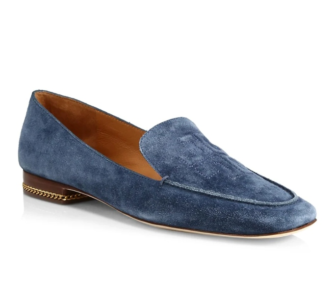 Tory Burch Ruby Square-Toe Suede Loafers, shoes you can wear without socks